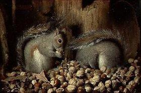 Joseph Decker: Eichhörnchen mit ihrem Wintervorrat