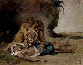 Eugene Delacroix: Löwe an der Leiche eines Arabers