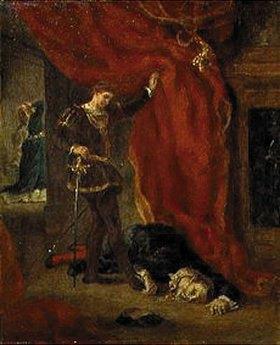 Eugene Delacroix: Hamlet vor der Leiche des Polonius (Akt III, Szene IV.)