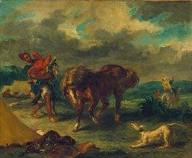 Eugene Delacroix: Marokkaner und Pferd