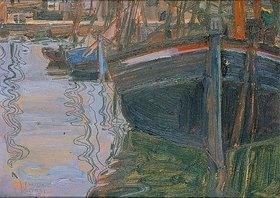 Egon Schiele: Boote, sich im Wasser spiegelnd