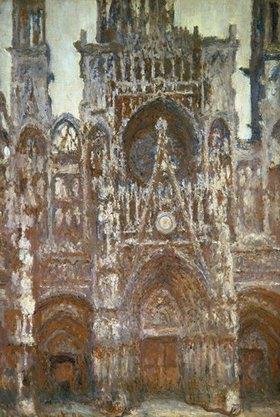 Claude Monet: Frontalansicht der Kathedrale von Rouen (Harmonie brune)