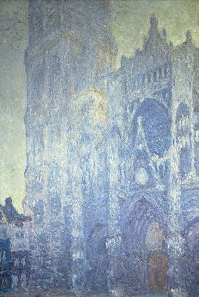 Claude Monet: Portal der Kathedrale von Rouen mit Turm Saint-Romain im Morgenlicht (harmonie blanche)