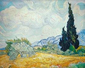 Vincent van Gogh: Weizenfeld mit Zypressen und blühendem B