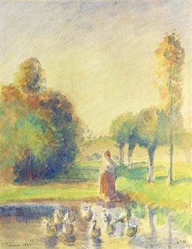 Camille Pissarro: Junge Frau am Ufer eines Weihers
