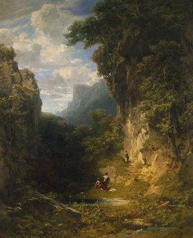 Carl Spitzweg: Bergschlucht mit badenden Frauen