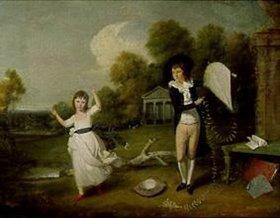 John Downman: Henry Frederick Bouverie und seine Schwester beim Drachensteigen