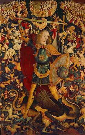 Spanischer Meister: Der hl.Michael von Zafra tötet den Drachen