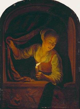 Gerrit (Gerard) Dou: Junges Mädchen mit brennender Kerze