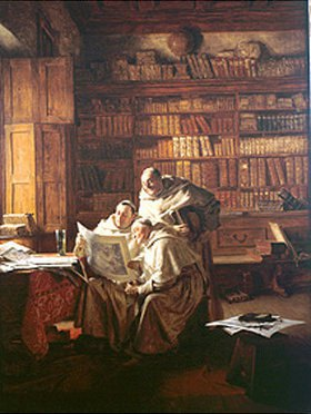 Eduard Grützner: Drei Mönche beim Betrachten eines Bildes
