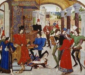 Loyset Liédet: Vasce de Luce überreicht Karl dem Kühnen seine Übersetzung von 'Den Taten Alexander des Großen'