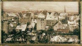Adolph von Menzel: Berliner Hinterhäuser im Schnee