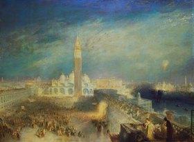 Joseph Mallord William Turner: Julia und ihre Zofe auf dem Balkon über dem Markusplatz Venedig