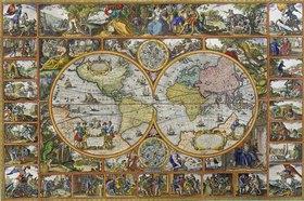 Visscher Claes Jansz.(Piscator): Erdkarte in Hemisphären (Feldherrnkarte)