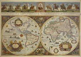Erdkarte: Erdkarte in zwei Hemisphären mit Bildnis Papst Innozenz XI. und Reiterbildnissen europäischer Fürsten