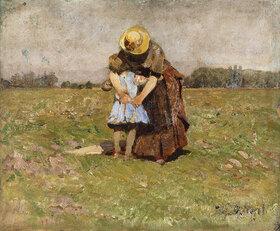Heinrich von Zügel: In Mutters Armen (Frau und Tochter des Künstlers in Dachau)
