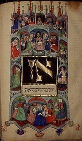 Handschrift: Darmstädter Pessach-Haggada. Studium der biblischen Schriften
