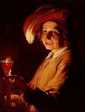 Matthias Stomer: Junger Mann mit Weinglas und Kerze