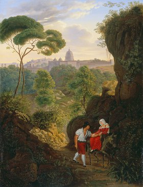 Johann Erdmann Hummel: Wanderndes Paar auf dem Monte Mario mit Blick auf Rom und St.Peter