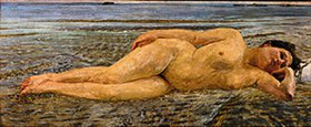 Max Klinger: Am Strande. 1890. Lwd., 76 x 182 cm