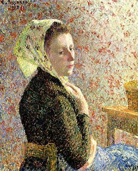 Camille Pissarro: Frau mit grünem Kopftuch