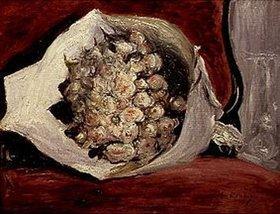Auguste Renoir: Strauss von weissen Rosen auf einem Sessel