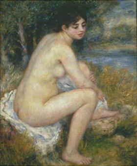 Auguste Renoir: Sitzende nackte Frau in Landschaft