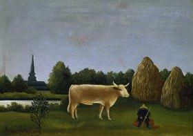 Henri Rousseau: Landschaft mit Kuh (oder: Ansicht bei Bagneux mit Kuh)