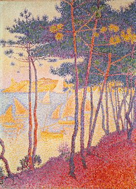 Paul Signac: Pinien und Segelboote