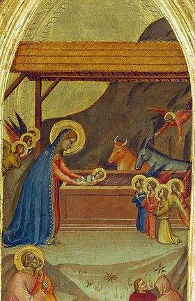 Bernardo Daddi: Die Geburt Christi. Ausschnitt aus dem Flügel eines Triptychons