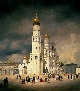 Johann Philipp Eduard Gaertner: Die Familie Olsufjeff auf dem Ivanovskaja-Platz im Kreml (Moskau)