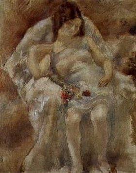 Jules Pascin: Sitzendes Mädchen mit Blumen