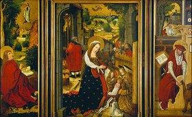 Meister des Wendelinaltars: Aschaffenburger Triptychon. Li: Johannes Ev.auf Patmos, Mitte: Geburt Christi