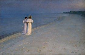 Peter Severin Kroyer: Sommerabend bei Skagen (Anna Ancher und Marie Kroyer am Skagener Südstrand)