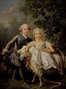 François-Hubert Drouais: Kinderbildnis Charles Philippe von Frankreich mit Schwester Marie-Adelaide