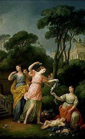 Joseph Marie Vien: Junge Griechinnen schmücken den schlafenden Amor mit Blumen