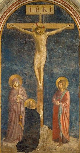 Fra Angelico: Kreuzigung mit Maria, Johannes dem Evangelisten und dem hl. Dominikus