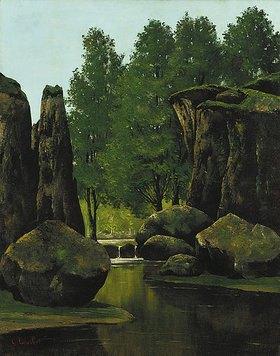 Gustave Courbet: Landschaft mit Bach und Felsentor
