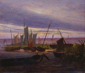 Caspar David Friedrich: Schiffe im Hafen am Abend