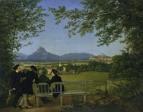 Julius Schoppe d.Ä.: Aussicht vom Gaisberg auf Salzburg