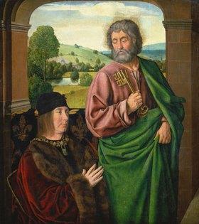 Jean (Meister von Moulins) Hey: Pierre II., Sire de Beaujeu, Herzog von Bourbon, und der hl.Petrus