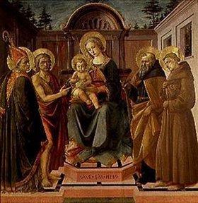 Pesellino (Francesco di Stefano): Maria mit dem Kind, umgeben von den hll. Zeno,Johannes d.T.,Antonius Abbas und Franziskus