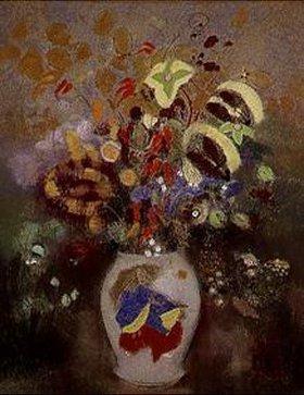Odilon Redon: Dekorierter Krug mit Blumenstrauss