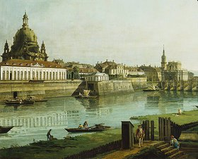 Bernardo (Canaletto) Bellotto: Dresden vom rechten Elbufer oberhalb der Augustusbrücke (Ausschnitt)