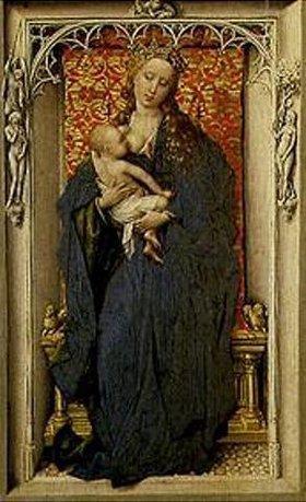 Rogier van der Weyden: Maria mit dem Kind an der Brust. Tafel eines Diptychons