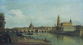 Bernardo (Canaletto) Bellotto: Dresden vom rechten Elbufer oberhalb der Augustusbrücke