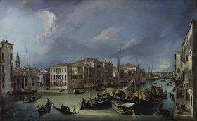Canaletto (Giov.Antonio Canal): Der Canal Grande in Venedig mit der Rialtobrücke. Gegen