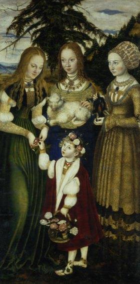 Lucas Cranach d.Ä.: Katharinen-Altar. Linker Seitenflügel: Die hll. Dorothea, Agnes und Kunigunde