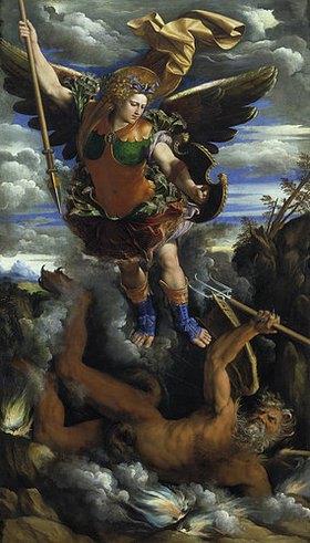 Dosso (Giovanni de Luteri) Dossi: Der Erzengel Michael.Um 1540. Ausgeführt zusammen mit Battista Dossi (1493-1548)