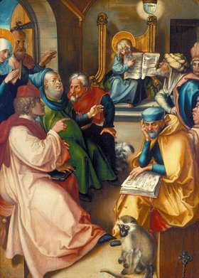 Albrecht Dürer: Der zwölfjährige Jesus im Tempel. Aus dem Altar: Die sieben Schmerzen Mariae